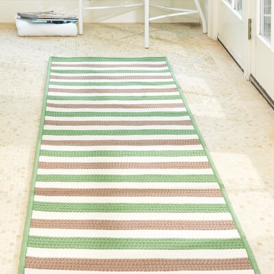 Stripe It Moss-stone Indoor/Outdoor Area Rug Rug Size: Runner 2 x 8