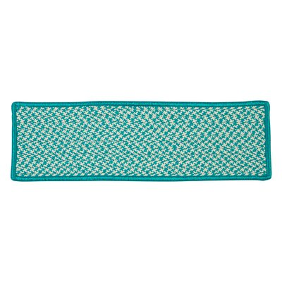 Outdoor Houndstooth Tweed Turquoise Stair Treads Quantity: 1