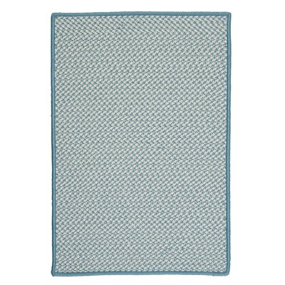 Outdoor Houndstooth Tweed Sea Blue Area Rug Rug Size: 5 x 8
