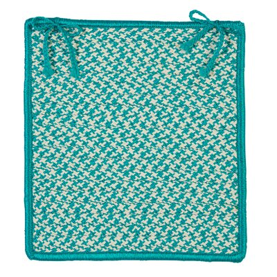 Outdoor Houndstooth Tweed Chair Pad (Set of 4) Color: Turquoise