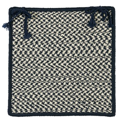 Outdoor Houndstooth Tweed Chair Pad (Set of 4) Color: Navy