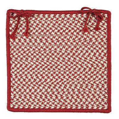 Outdoor Houndstooth Tweed Chair Pad (Set of 4) Color: Sangria