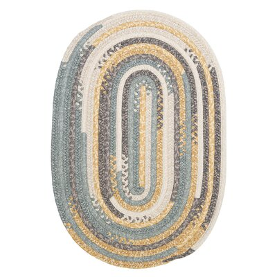 Print Party Ovals Yellow Area Rug Rug Size: Round 6