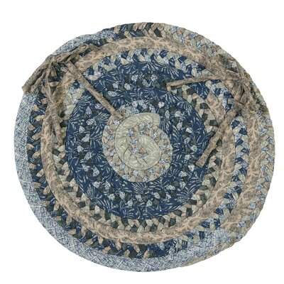 Print Party Ovals Dining Chair Cushion Color: Denim Wash