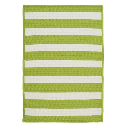 Stripe It Bright Lime Indoor/Outdoor Area Rug Rug Size: Runner 2 x 8