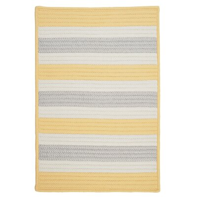 Stripe It Yellow Shimmer Indoor/Outdoor Rug Rug Size: Square 12