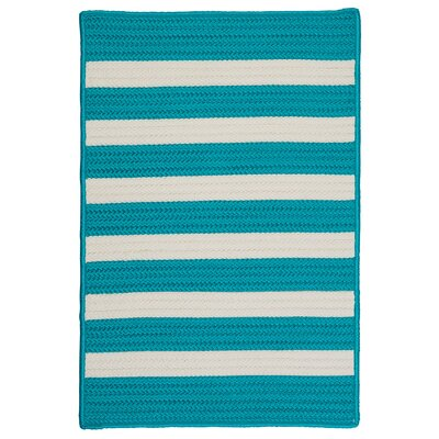 Stripe It Turquoise Indoor/Outdoor Area Rug Rug Size: Square 12'