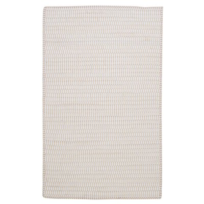 Ticking Stripe Rect Canvas White Area Rug Rug Size: Square 4