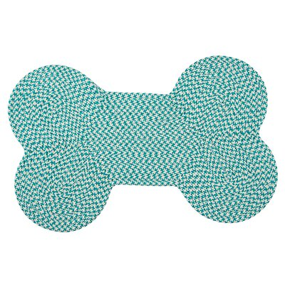 Dog Bone Houndstooth Bright Pet Doormat Mat Size: Bone 22 H x 34 W, Color: Turquoise