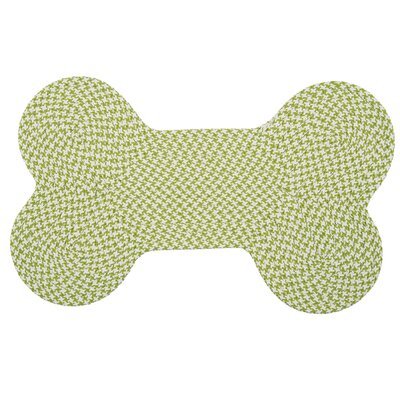 Dog Bone Houndstooth Bright Pet Doormat Rug Size: Bone 22 H x 34 W, Color: Lime