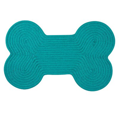 Dog Bone Solid Pet Doormat Rug Size: Bone 18 H x 30 W, Color: Turquoise
