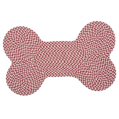 Dog Bone Houndstooth Bright Pet Doormat Rug Size: Bone 22 H x 34 W, Color: Sangria