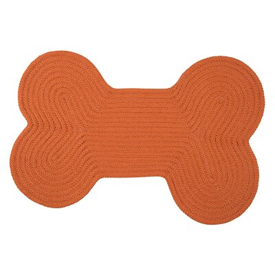 Dog Bone Solid Pet Doormat Rug Size: Bone 18 H x 30 W, Color: Orange