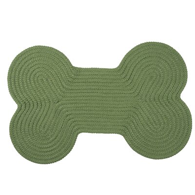 Dog Bone Solid Pet Doormat Rug Size: Bone 18 H x 30 W, Color: Moss Green