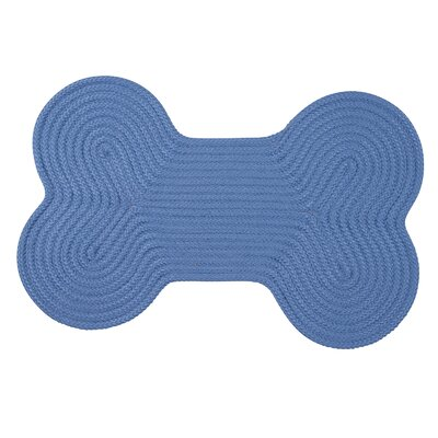 Dog Bone Solid Pet Doormat Rug Size: Bone 18 H x 30 W, Color: Blue Ice