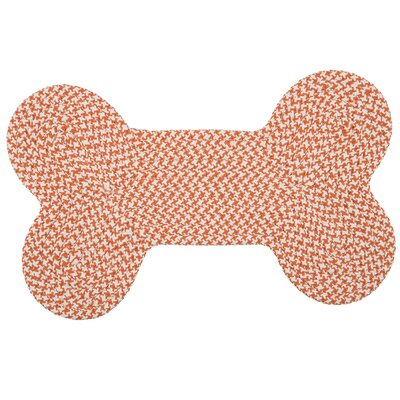 Dog Bone Houndstooth Bright Pet Doormat Rug Size: Bone 22 H x 34 W, Color: Orange