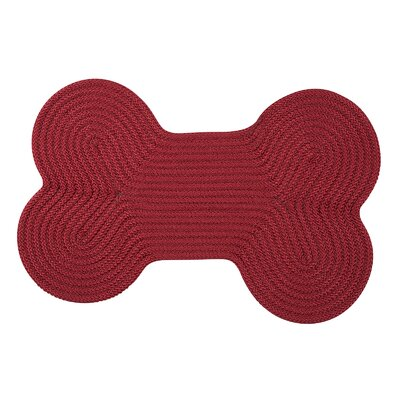 Dog Bone Solid Pet Doormat Rug Size: Bone 18 H x 30 W, Color: Sangria