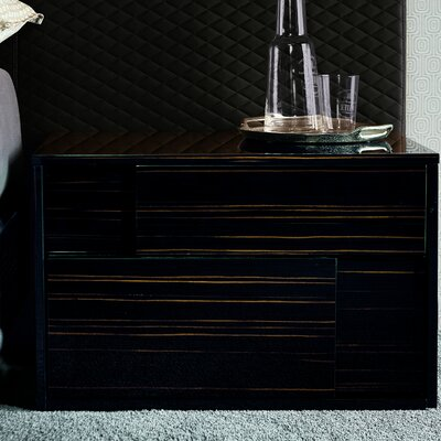 Nightfly 2 Drawer Nightstand Orientation: Left, Finish: Ebony