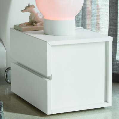 Gola 2 Drawer Nightstand Color: White Matrix