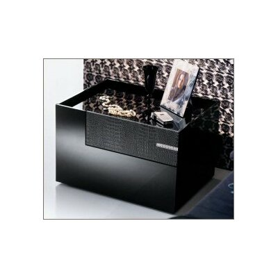 Diamond 2 Drawer Nightstand Color: Black, Side: Left