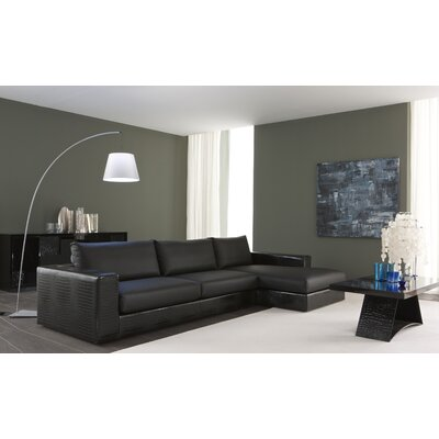 Nightfly Leather Sectional Upholstery: Black, Orientation: Right Hand Facing