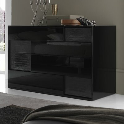 Nightfly 4 Drawer Standard Dresser Finish: Black