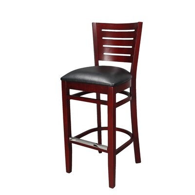 30 Bar Stool Finish: Mahogany, Upholstery: Black Vinyl Padded