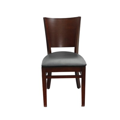 Series Melissa Side Chair Finish: Walnut, Upholstery: Black Vinyl Padded