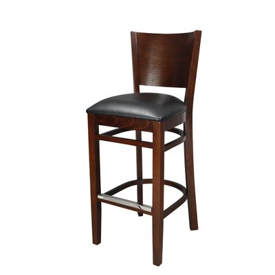 Melissa 30 Bar Stool Finish: Walnut, Upholstery: Black Vinyl Padded