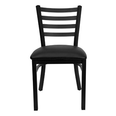 Metal Series Ladder Side Chair Upholstery: Black Vinyl Padded
