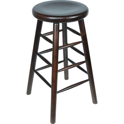 Backless 30 Bar Stool Finish: Walnut, Upholstery: Walnut Saddle