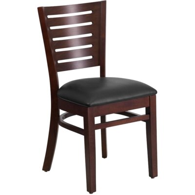 Series Stripe Side Chair Finish: Walnut, Upholstery: Burgundy Vinyl Padded