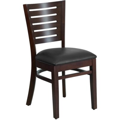 Series Stripe Side Chair Finish: Walnut, Upholstery: Black Vinyl Padded