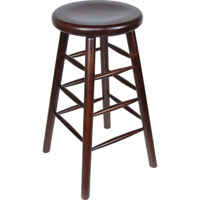 Backless 30 Bar Stool Finish: Mohagony, Upholstery: Mahagony Saddle