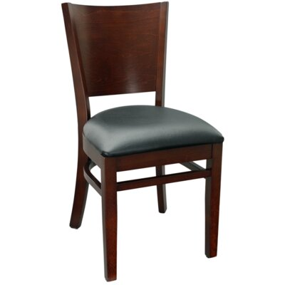 Series Melissa Side Chair Finish: Walnut, Upholstery: Burgundy Vinyl Padded