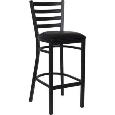 30 Bar Stool Upholstery: Black Vinyl Padded
