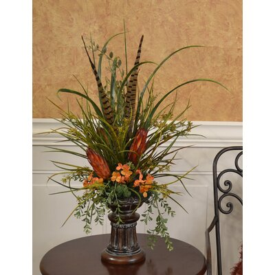 Grasses, Feather and Protea Mantel Floral Design