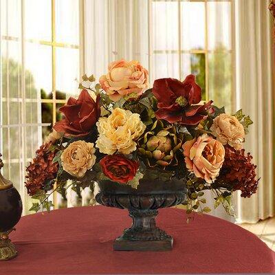 Magnolia and Peony Grande Silk Floral Centerpiece