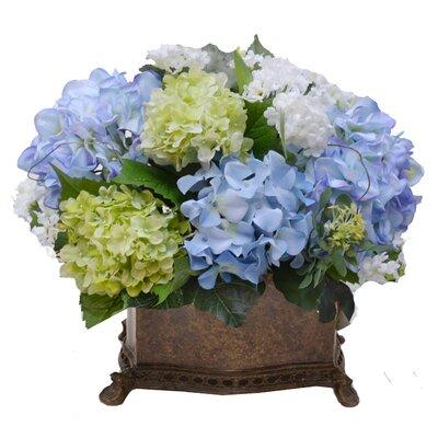 Elegant Silk Hydrangea Floral Arrangement with Snowballs