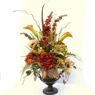 Sunflower and Hydrangea Silk Floral Design in Urn