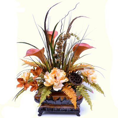Sunflower, Calla Lily Peony and Orchid Silk Flower Centerpiece with Feathers AR373