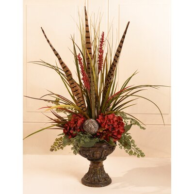 Grass and Feather Mantel Floral Arrangement