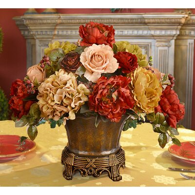 Garnet Silk Peonies Floral Arrangement in Vase