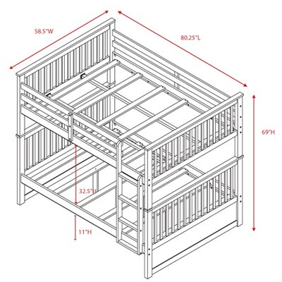 Kara Full Over Full Bunk Bed with Convertible Trundle/Drawers