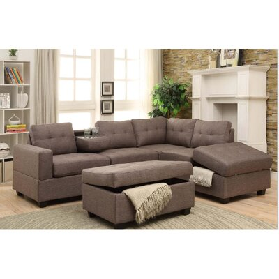 Hulett Woven Fabric Sectional Upholstery: Gray