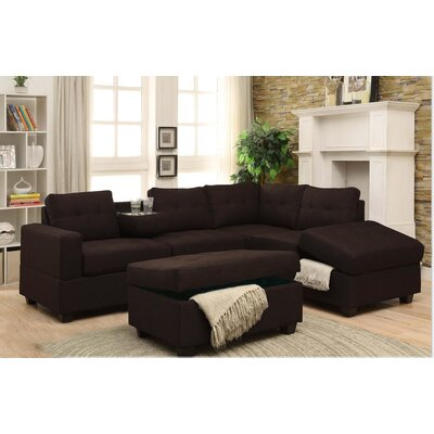 Hulett Woven Fabric Sectional Upholstery: Brown