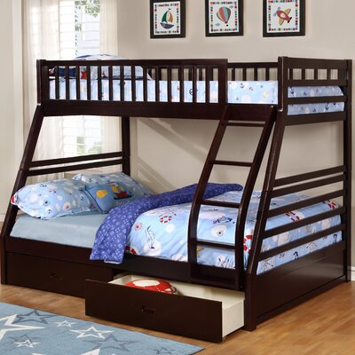 Claret Twin Over Full Bunk Bed with Drawers Finish: Espresso