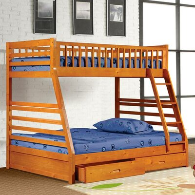 Claret Twin Over Full Bunk Bed with Drawers Finish: Oak