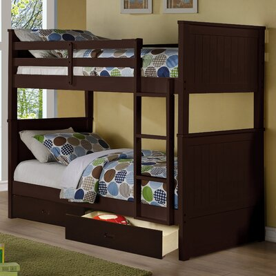 Fannie Twin Over Twin Storage Bunk Bed Color: Espresso
