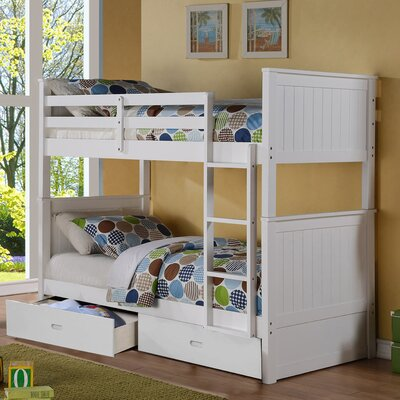 Clarion Twin Over Twin Storage Bunk Bed Finish: White